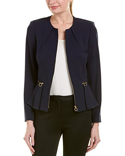 Tahari by Arthur S. Levine Women's Bi Stretch Long Sleeve Peplum Jacket, Navy, 14
