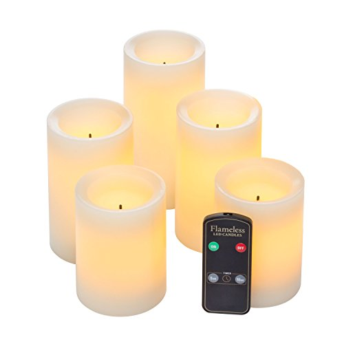 Real Wax Flameless LED Candle Set w/Dual Timer Feature and Remote Control - Batteries Included - Set of 5