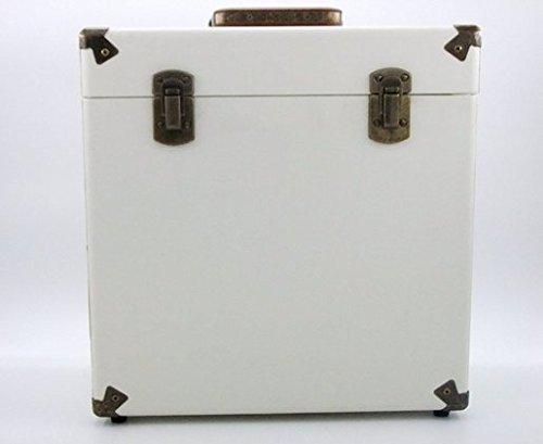 SW-B18 Portable vinyl record box storage cases for vinyls album collections (Cream)