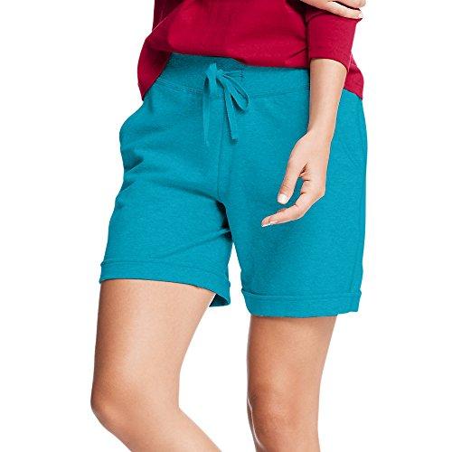 Hanes Womens French Terry Bermuda Pocket Short O4681_Intense Aqua_M (Terry Fleece)