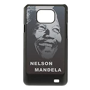 Remembering Nelson Mandela Design Gray Ground Drawing Pattern Plastic Hard Back Cover for Samsung Galaxy S2 I9100