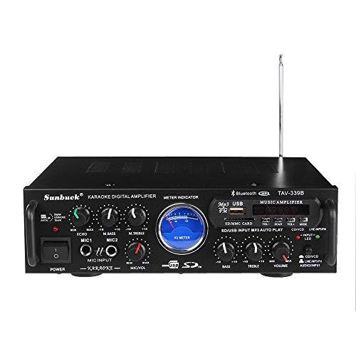 (Wireless Bluetooth Karaoke Amplifier - 200 Watts Dual Channel Home Audio PA Receiver System 2 Mics Input, FM, USB,SD UV Meter-for Speaker iPhone-Sunbuck TAV339BT.)
