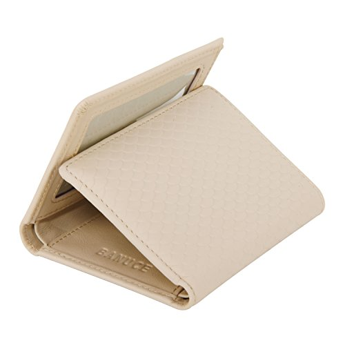Banuce Women's Full Grains Genuine Leather Embossed Pattern Slim Small Item Trifold Wallet Color Light Grey