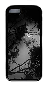iPhone 5C Case, iCustomonline Forest At Night White Designs Case for iPhone 5C Rubber Black