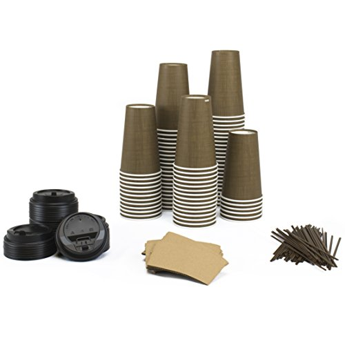 Paper Hot Cups Sets (100 Count) - 16 oz Cups, Lids, Sleeves, Straws - Office Pack of Insulated Coffee Cups - Disposable Travel Mug Ounce Cover Beverage Box Tea Chocolate Decorative Food Party Drink (Coffee Set For Office compare prices)