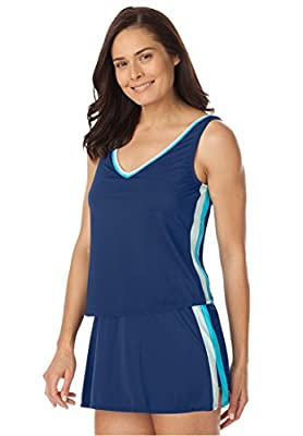 Swim 365 Women's Plus Size 2-Piece Striped Tankini Swimsuit