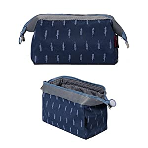 Travel Cosmetic Bag Jewelry Toiletry Organizer Bag Makeup Pouch for Women Girls (Navy Blue)