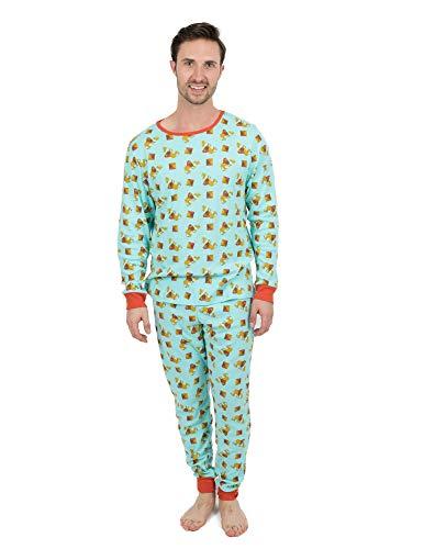 Leveret Mens Pajamas Lion 2 Piece Pajama Set 100% Cotton Size Medium ()