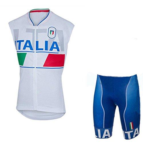 Cycling Jerseys Men's Sleeveless and Bib Shorts Set Bicycle Jersey Summer Breathable Jersey White V63 (Q, - Italia Cycling Jersey