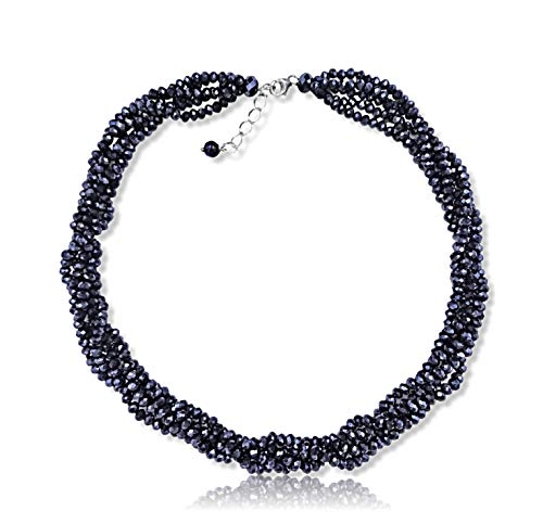 MGR MY GEMS ROCK! Multi-Strand Layered Bib Collar Statement Beaded Crystal Necklace.