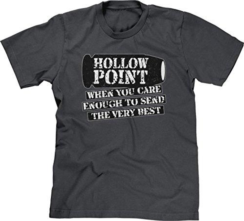 Hollow Point Handgun - Blittzen Mens T-shirt Hollow Point Send The Very Best, L, Charcoal