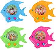 Toyvian 4pcs Water Ring Toss Toy Handheld Water Game Retro Pastime Game Arcade Puzzle Machine Fish for Kids Ad