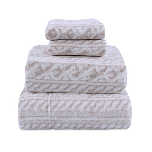 Berkshire Blanket, MicrofleeceTM Cable Knit Printed Sheet Set, King, Linen