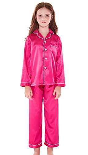 (Horcute Pajamas Little Kid Sleepwears Set Pjs Clothes Long Sleeve Rose 170# 11-12Y)