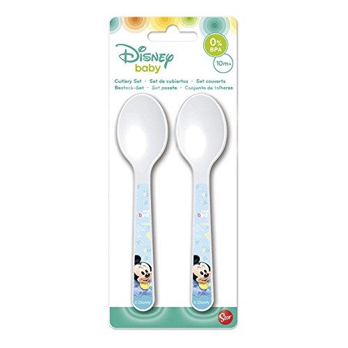 Gé né rique - Lot DE 2 Cuillere Plastique pour Bebe Mickey Disney - Couvert Enfant Repas - 669 Générique