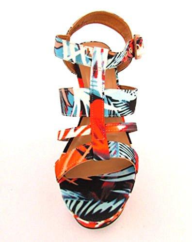 Sand Skyline Di Bambù-22 M Donna Strappy Open Toe Sandalo Con Zeppa Arancione Multi