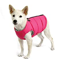 Gooby - Padded Vest Solid, Dog Jacket Coat Sweater Zipper Closure Leash Ring, Solid Pink, Small
