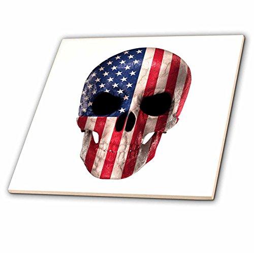 3dRose Carsten Reisinger - Illustrations - Patriotic Skull with American Flag Imprinted - 12 Inch Ceramic Tile (ct_268565_4) American Ceramic Tile