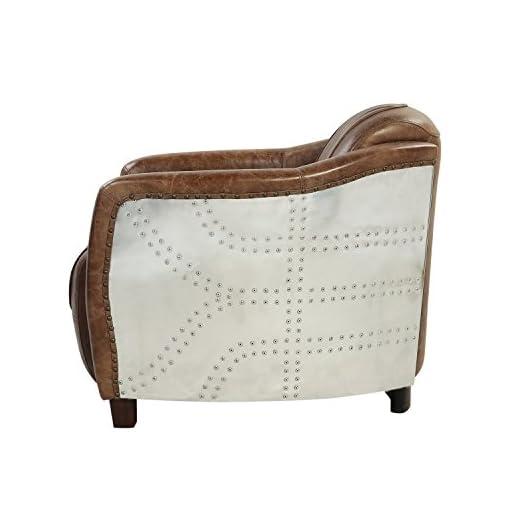 Farmhouse Accent Chairs ACME Brancaster Chair – – Retro Brown Top Grain Leather & Aluminum farmhouse accent chairs