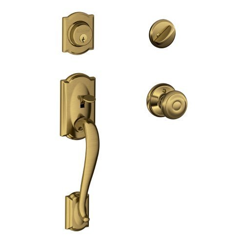 Camelot Single Cylinder Handleset and Georgian Knob, Antique Brass (F60 V CAM 609 GEO) by Schlage Lock Company