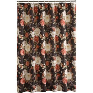 orange and black shower curtain. Dramatic Cabbage Rose Floral Fabric Shower Curtain On Black Amazon com