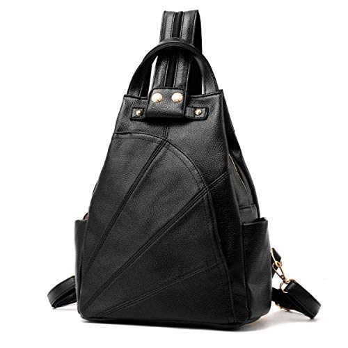 (Business Laptop Backpack Notebook Rucksack Women's Europe and The United States Fashion Shoulders Backpack Leisure Travel Bags PU Leather Chest Bag Shoulder Bag,Grey (Color : Black))