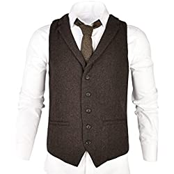 VOBOOM Mens Herringbone Tailored Collar Waistcoat Fullback Wool Tweed Suit Vest (Coffee, XL)