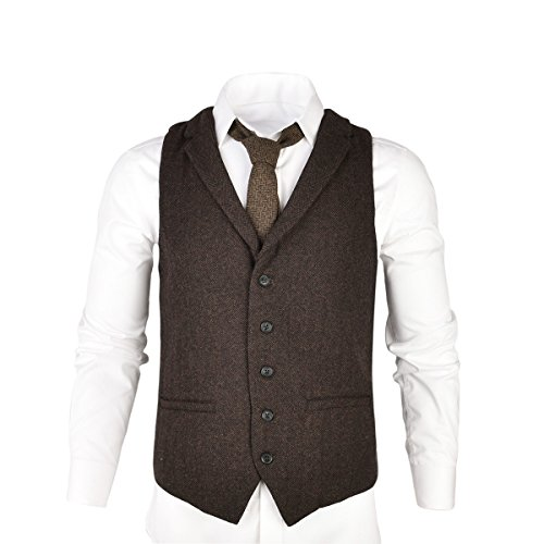 VOBOOM Mens Herringbone Tailored Collar Waistcoat Fullback Wool Tweed Suit Vest (Coffee, ()