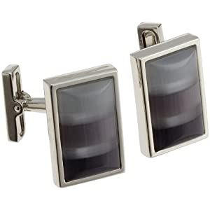 Kenneth Cole Mens Shades Of Gray Mosaic Fiber Optic Glass Rectangle Cufflinks