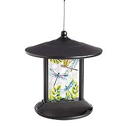 Evergreen Garden of Dragonflies Solar Hanging Bird Feeder