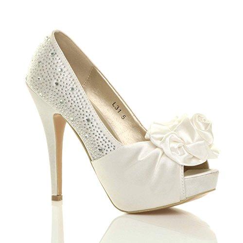 Chaussures Pointure Femmes Talon Blanc Ouvert Escarpins Mariage Cass Fleur Strass Bout Haut 0pqx0H1z