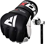 RDX MMA Gloves for Grappling Martial Arts | Genuine Cowhide Leather Mitts for Kickboxing, Sparring, Muay Thai, Cage Fighting, Punching Bag & Combat Training