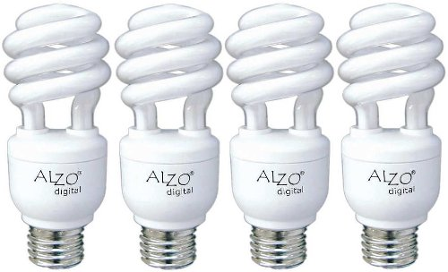 Spectrum Fluorescent Lights - ALZO 15W Joyous Light Full Spectrum CFL Light Bulb 5500K, 750 Lumens, 120V, Pack of 4, Daylight White Light