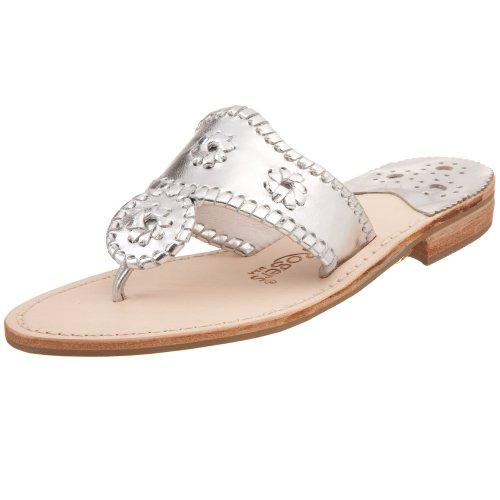Jack Rogers Women's Hamptons Sandal,Silver,11 M