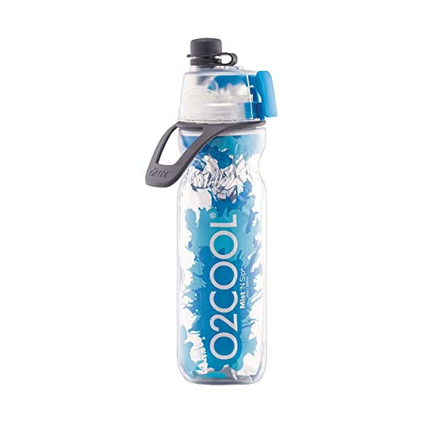 O2Cool Double Wall Mist 'N Sip Water Bottle, Blue with Blue Splash