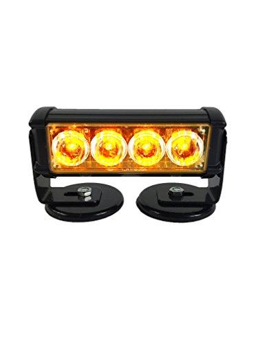 Warningworx Amber Orange Beacon 4 Watt Amber Warning Strobe Light LED Rechargeable Battery Powered Wireless Flasher -