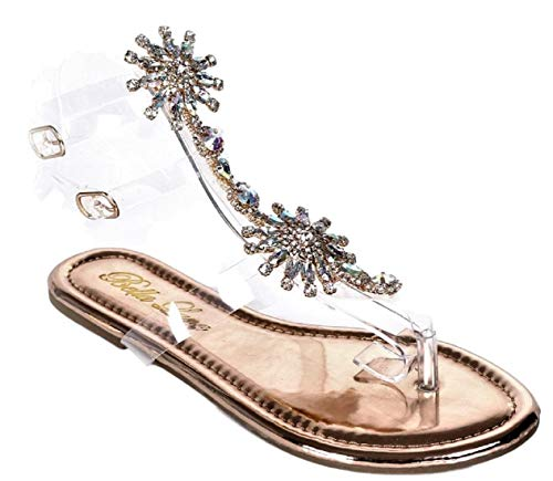 Bella Luna Women Gladiator Lucite Clear Transparent for sale  Delivered anywhere in USA