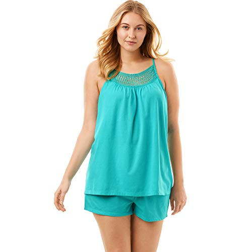 Dreams & Co. Women's Plus Size Crochet Trim Shorty Pj Set - Aquamarine, 18/20