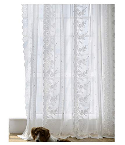 BW0057 Modren Fresh Style Lace Embroidery Sheer Curtain Rod Pockets Top Window Decoration Transparent Voile Panel Drape for Living Room Bedroom Kichen and Kids Room(1 Panel, W 52 x L 84 inch, White)