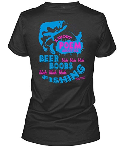 I Love Fishing Women's Tee, A Short Poem About Me Beer Boobs T Shirt-WomenTee (S, Black) ()