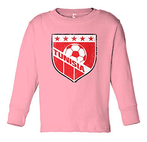 Tcombo Tunisia Soccer - Distressed Badge Long Sleeve Toddler Cotton Jersey Shirt (Light Pink, 3T)