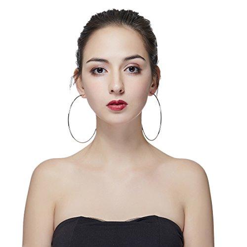 Hypoallergenic Extra Large Basketball Hula Hoop Earrings for Women Men - Big Thin Hoop Earrings