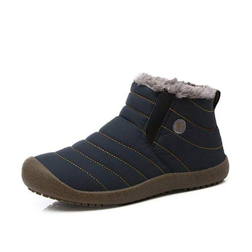 aeepd Winter Snow Boots Slip on Ankle Bootie Men Women Water-Resistant Anti-Slip Fur Lined Shoes Blue