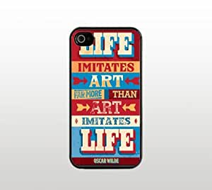Life Snap-On Case for Apple iPhone 4 4s - Hard Plastic - Black - Cool Custom Cover - Inspirational Oscar Wilde Quote