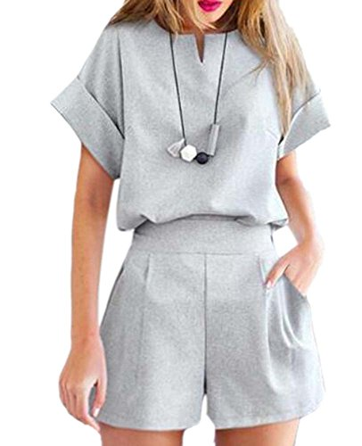 Vita Con Doppio Corta Ladies Shorts A Polsini Set Fashion Manica In Grigio Cintura Strato Summer UZTWPnAcx