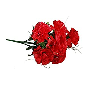 Artificial Red Carnation Bush; 7 stems 24