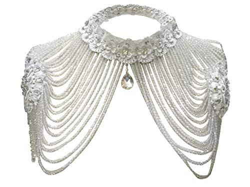 Women Jewelery sets,Edith qi Wedding Bridal Silver Rhinestone Necklace Shoulder Chains Deco Bib Gift