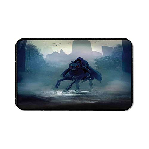 Fantasy World Ordinary Mouse Pad,Fantasy Horseman with Hood Riding in Dark Mystic Foggy Forest Road Fairytale Theme for Computers Laptop Office & Home,15.75''Wx23.62''Lx0.12''H