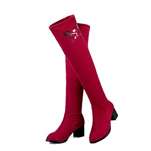 AllhqFashion Mujeres Tacón Medio Sólido Puntera Cerrada Sin cordones Botas Rojo