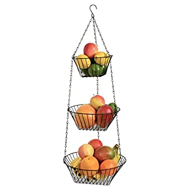 Durable 3-Tier Round Iron Hanging Basket - 25in Long / Bronze Plated